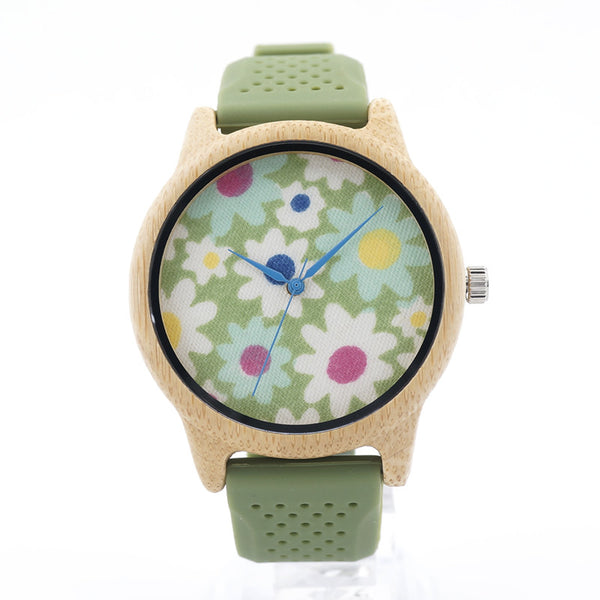 Floral Women's wooden watch with silicon strap - Yacht Bath and Body
