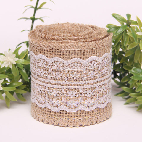 1 meter of 5 cm Natural Burlap Roll Jute ribbon with lace embellishment - Yacht Bath and Body