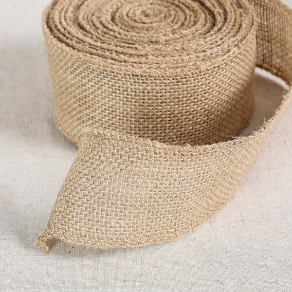 1M of 5 cm 1 Meter Burlap Natural Jute Ribbon - Yacht Bath and Body