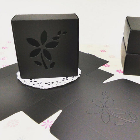50 pcs Soap packaging box with flower window, black - Yacht Bath and Body