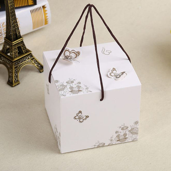 10 pcs butterfly pattern box with handle, Dimension: 11.5*11.5*10cm - Yacht Bath and Body