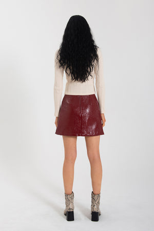 Load image into Gallery viewer, Nina Skirt - Crimson PVC