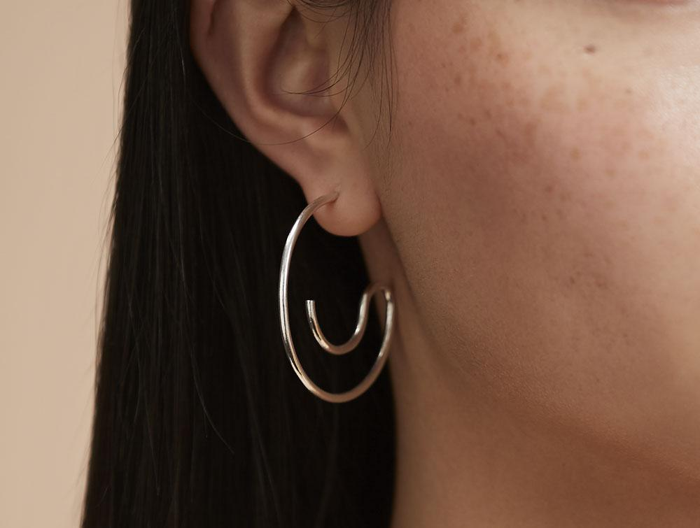 Newend | Smooth Hoop Earrings Silver
