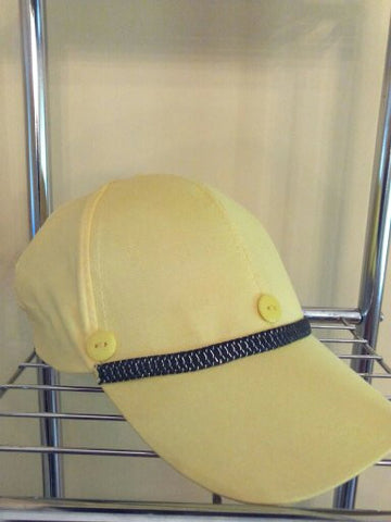 Yellow Baseball Hat with Black/Silver Metallic Trim and Yellow Buttons - FayZen's Kreations