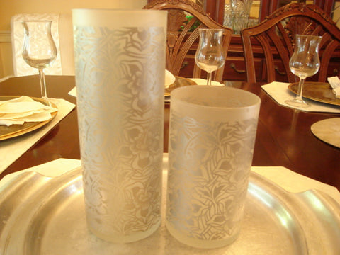 Frosted & Etched Cylinder Vase 2 pc Set - FayZen's Kreations