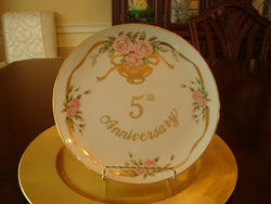 Lefton China Gold-trimmed 5th Anniversary Plate - FayZen's Kreations