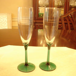 Green Foot & Stem Crystal Champagne Flute Set - FayZen's Kreations
