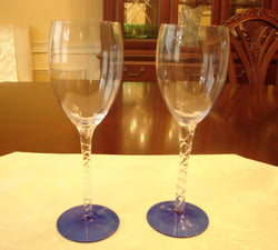 Light Blue Crystal Wine Glass 4 pc. Set - FayZen's Kreations