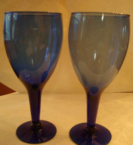 Footed Dark Blue Goblet Water Glass 5 Pc. Set - FayZen's Kreations