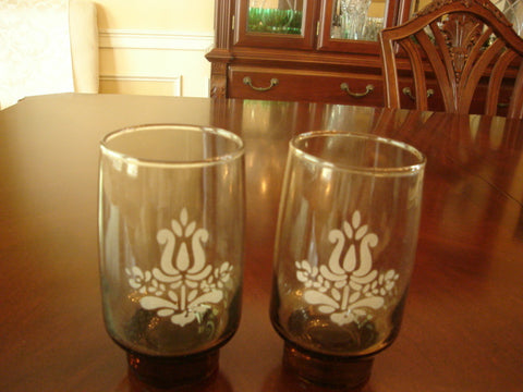 Pfaltzgraff Brown Etched Thick-Base Water Glass Set - FayZen's Kreations