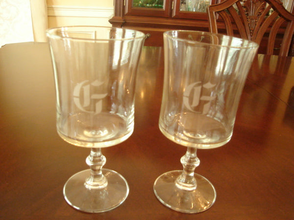"2 pc. Decorative Stem Wine Glass Set, Engraved With Ltr. ""G"" - FayZen's Kreations"