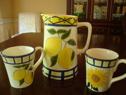 Lemonade 5 pc - Pitcher and 4 Mugs - FayZen's Kreations