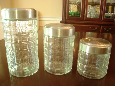 Squares-Designed Canister Set With Silver Screw-On Tops - FayZen's Kreations