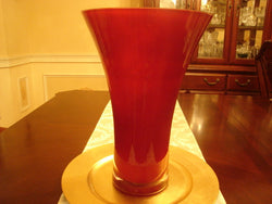 Tall Red Crystal Vase With Thick Clear Base - FayZen's Kreations