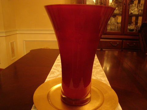 Tall Red Crystal Vase With Thick Clear Base Fayzenskreations