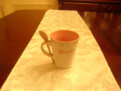 Mom White/Pink Coffee Mug and Spoon - FayZen's Kreations