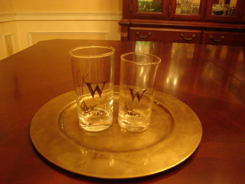 "Water & Juice Glass Set Etched with Ltr. ""W"" - FayZen's Kreations"