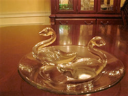 Clear Glass Duck Figurine Pair with Clear Glass Underplate - FayZen's Kreations
