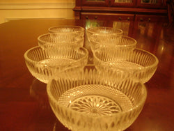 Vintage Carved Press Glass Dessert Dish Set - FayZen's Kreations