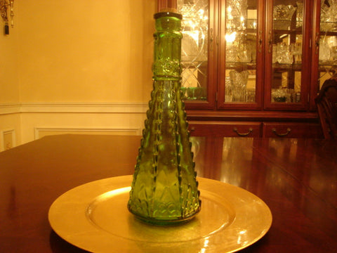 Green Vintage Morey Pressed Glass Decanter with Cork Stopper - FayZen's Kreations