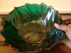 Blenko Glass Emerald Green Cabbage Leaf Design Salad Bowl - FayZen's Kreations