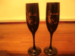 Elegant Black Bride & Groom Toasting Flutes - FayZen's Kreations