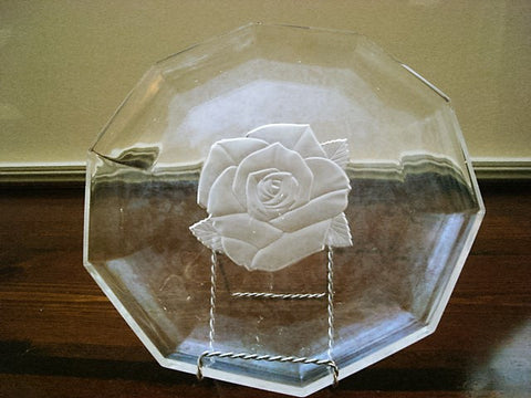 Vintage Columned Crystal Serving Platter with Center Frosted Rose - FayZen's Kreations