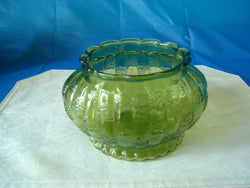 Oval Vintage ALR Co. Green Bowl with Scalloped Base and Rim - FayZen's Kreations