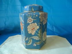 Japanese Blue Porcelain Floral Vase with Matching Top - FayZen's Kreations
