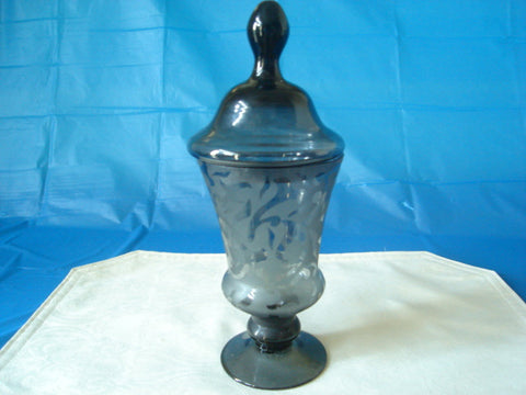 Black Etched Apothecary Jar with Tear-Drop Top - FayZen's Kreations