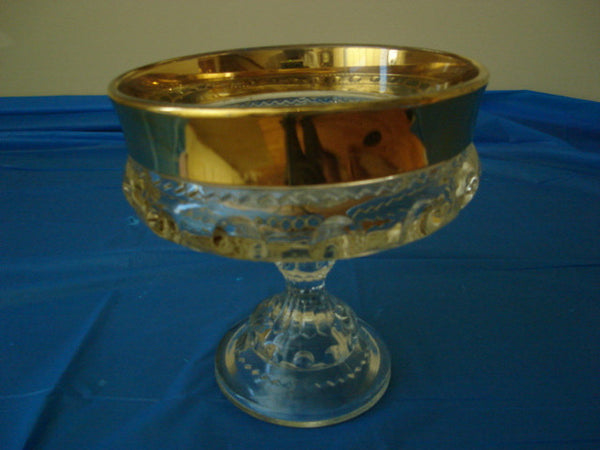 Indiana Glass Kings Crown Thumbprint Compote Bowl Gold Flash - FayZen's Kreations