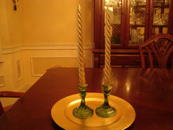 Green 2 pc Depression Glass Candle Holders - FayZen's Kreations