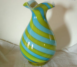 Urn Shaped Turquoise & Lime Green Swirl Glass Vase - FayZen's Kreations