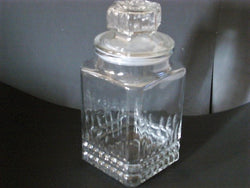 Pressed Cut Diamond Cookie/Storage Jar with Octagon-Shaped Stopper - FayZen's Kreations
