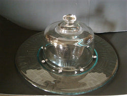 Line-Embossed Serving Platter with Crystal Beads and Dome - FayZen's Kreations