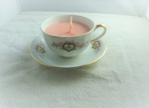 Globe China Gold-Rimmed Cup & Saucer Container Candle - FayZen's Kreations