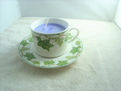 Vineyard Design Porcelain Cup & Saucer Container Candle - FayZen's Kreations
