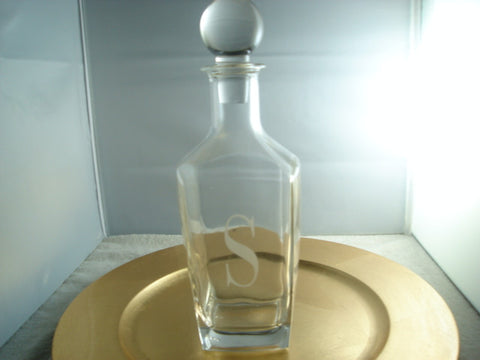 "Decanter Etched with Ltr ""S"" - FayZen's Kreations"