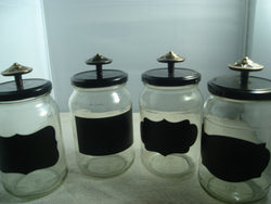 Glass Storage Jar 4 pc Set with Knobs and Chalkboard Labels - FayZen's Kreations