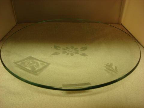 Orb Style Etched Clear Glass Display Platter - FayZen's Kreations