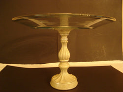 """Elevate"" Raised Cake Stand with Fluted Resin Column Base - FayZen's Kreations"