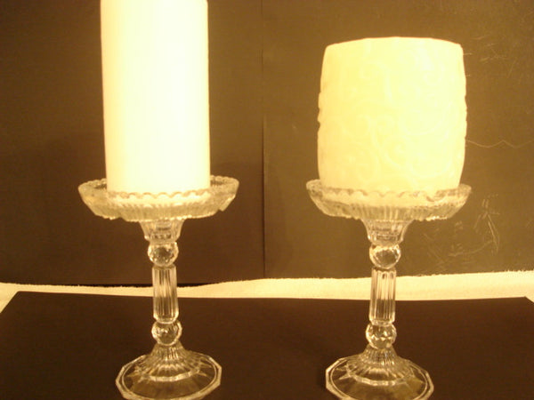 """Adorable"" Raised Pillar Candle Holder Pair - FayZen's Kreations"