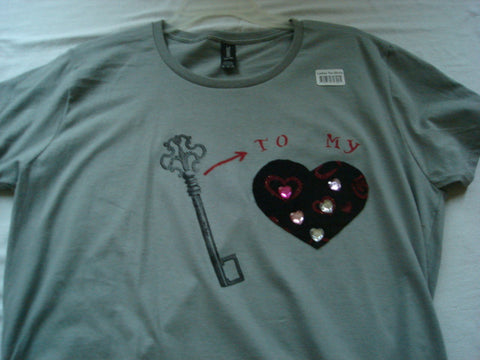 "Key ""To My"" Heart Hand Crafted Ladies T-Shirt plus Necklace Set - FayZen's Kreations"