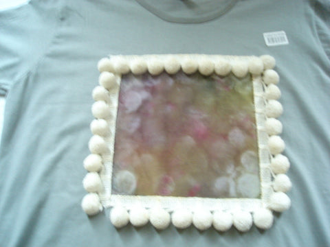 Color Block Ladies T-Shirt Surrounded by White Pom Pon Trim