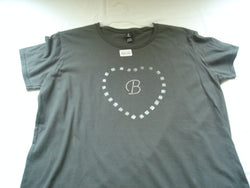 "T-Shirt with Hand-Painted Silver Checkered Heart & Crystal Letter ""B"""