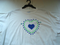 Hand-Painted Heart Within A Green & Navy Checkered Heart Unisex T-Shirt - FayZen's Kreations