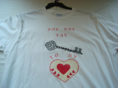 """You Are The Key To My Heart"" Hand Painted Unisex T-Shirt plus Necklace Set - FayZen's Kreations"