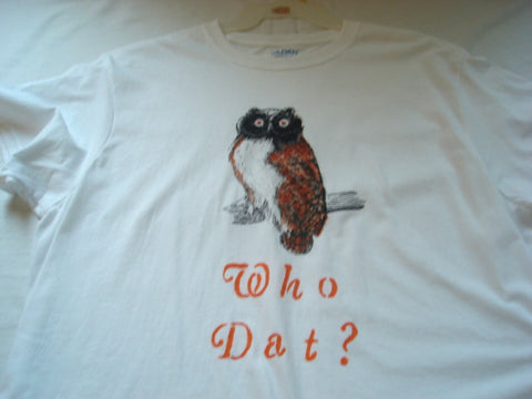 """Who Dat"" Hand Painted Unisex Owl T-Shirt - FayZen's Kreations"