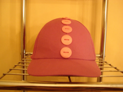 Violet Baseball Hat with Large Pink Buttons - FayZen's Kreations