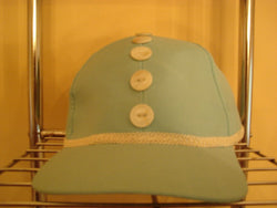Blue Baseball Hat with 5 Shell Buttons and Ivory Trim - FayZen's Kreations